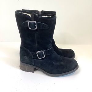 UGG Chaney Water Resistant Mid Boots Suede Wool Lined Black 6